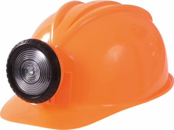 Bauhelm mit Lampe orange
